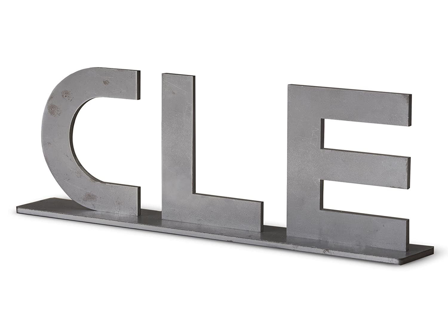 Cleveland Ohio CLE Sign Metal Industrial Home Décor Design - Raw Steel
