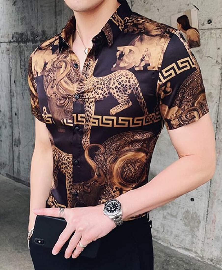 pipigo Mens Basic Slim Button-Down Short Sleeve Print Shirt