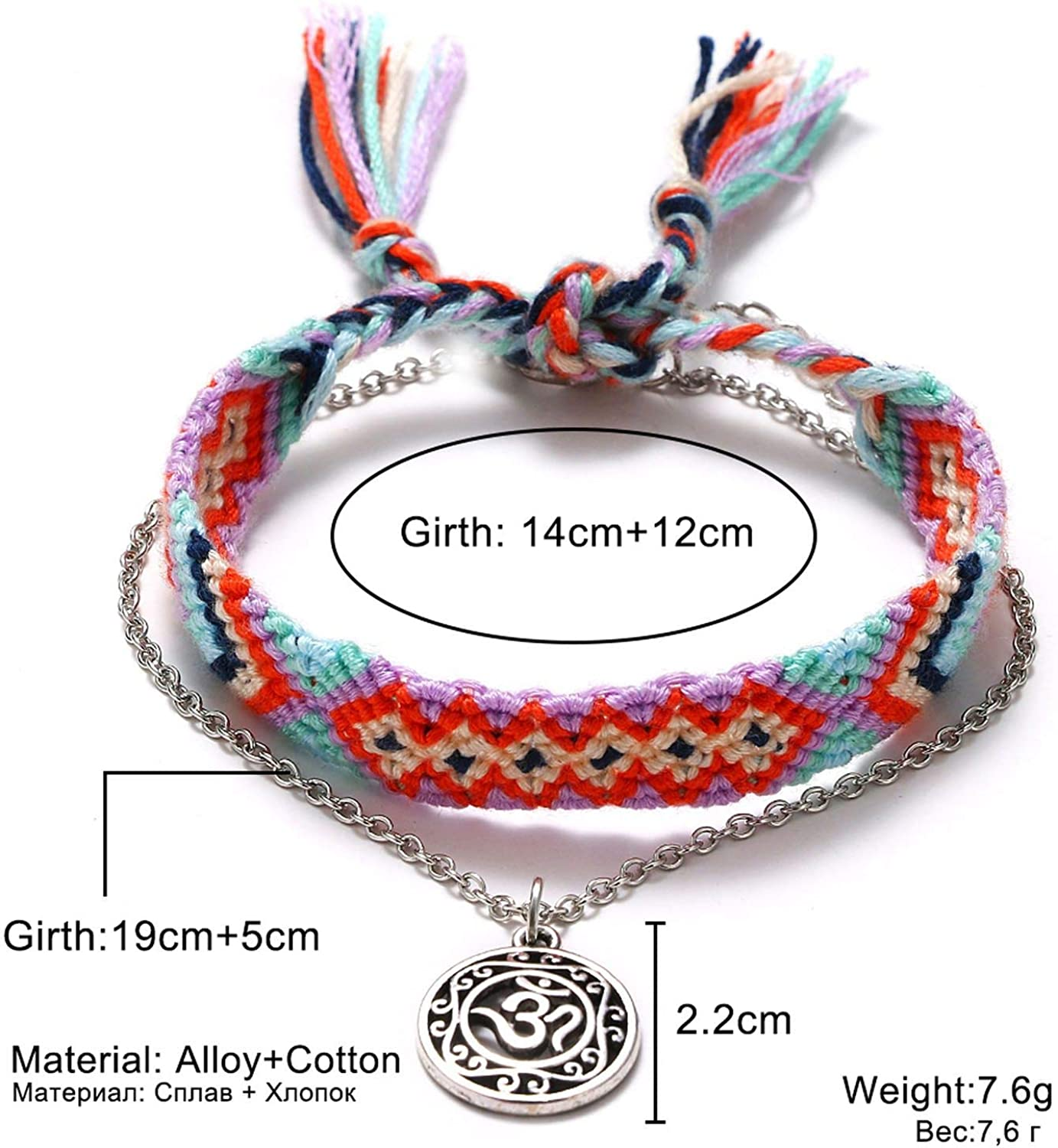 Fashion Nice Vintage Women Handmade Anklet Bracelets Beach Jewelry 2 Pcs//Set