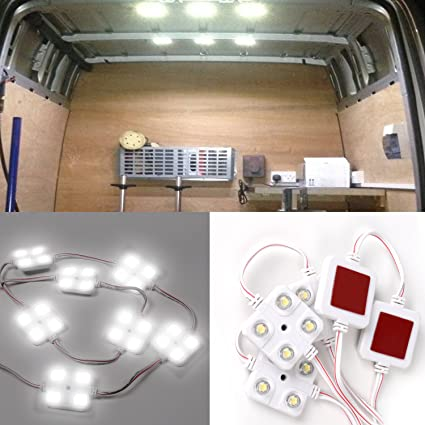WEIHAO Luces interiores de coche 10x4 tira de luces LED, luz de techo para Van Caravans Remilers Sprinter Ducato Transit VW LWB
