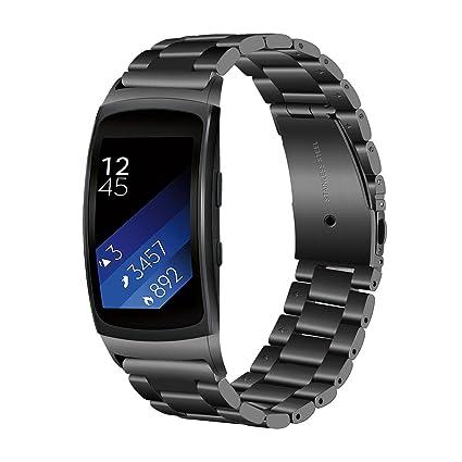 TRUMiRR Gear Fit 2 Correa de Reloj, Solid Banda de Acero Inoxidable Sports Strap Pulsera de muñeca para Samsung Gear Fit 2 SM-R360 / Fit 2 Pro SM-R365 ...