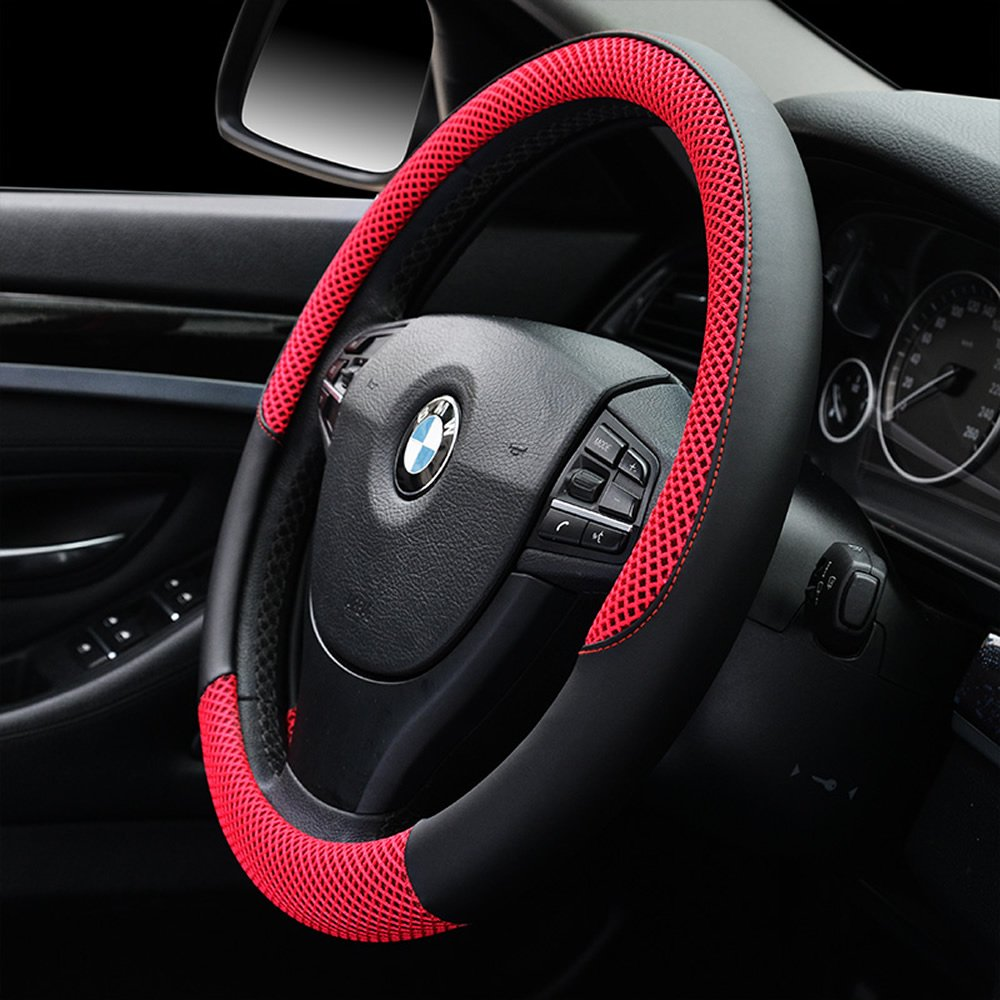Orange Auto Car Steering Wheel Cover Anti-slip Microfiber Leather with Viscose Universal 15//38cm