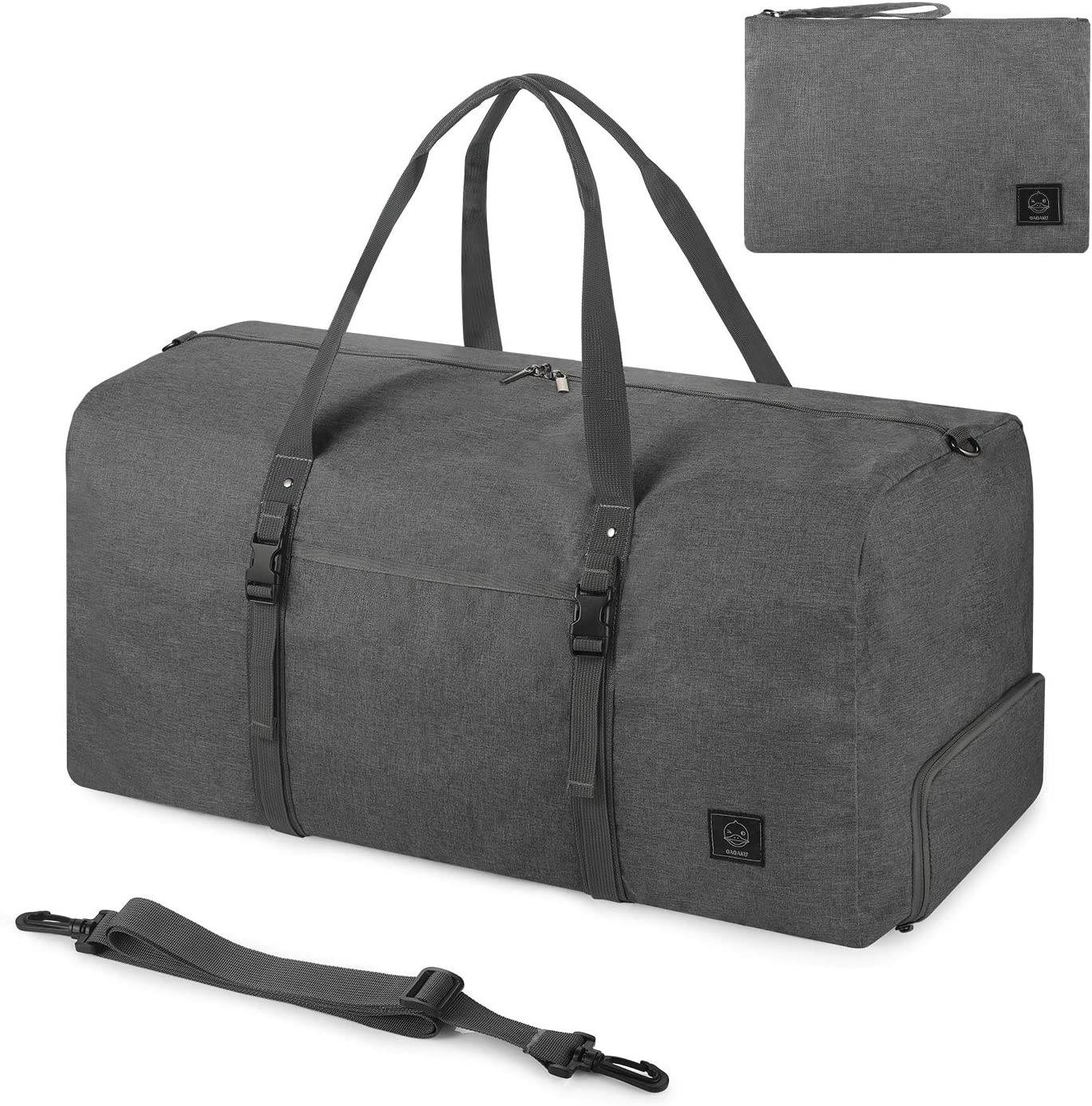 GAGAKU 70L Foldable Duffle Bag Packable Travel Duffel Bag with Shoes Compartment for Travel Large Weekender Bag