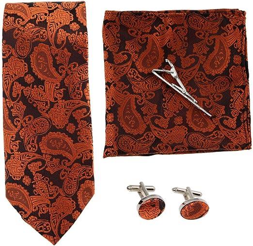 Showu Hombre Paisley corbata – caja conjunto con pañuelo, gemelos ...
