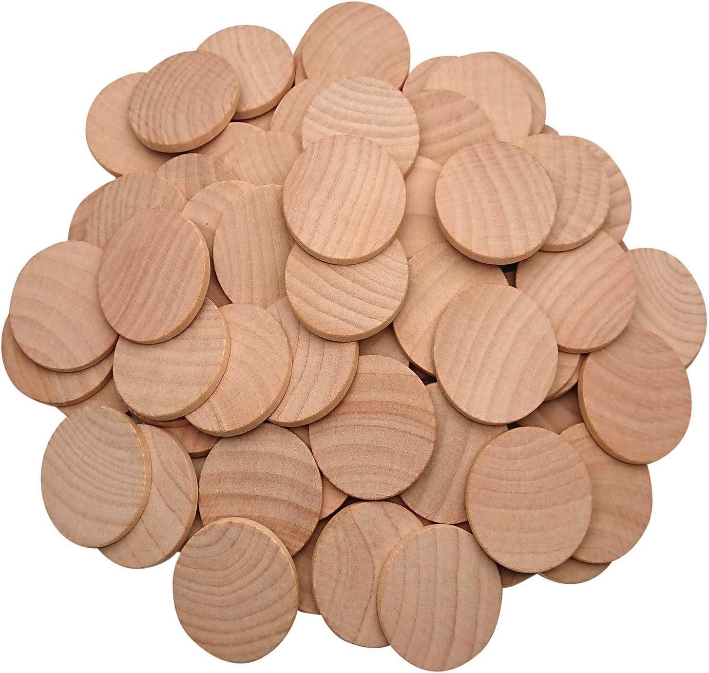 38mm//1.5inch 100 pezzi di fette in legno naturale non finito cerchi in legno pronti per essere dipinti e decorati.