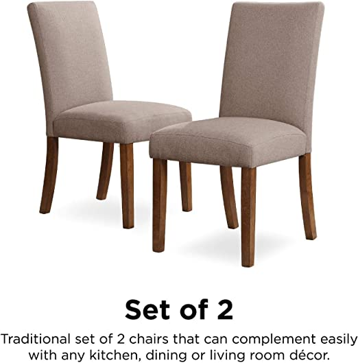 Dorel Living Linen Upholstered Parsons Chairs Set Of 2 Taupe Pine Amazon Ca Home Kitchen