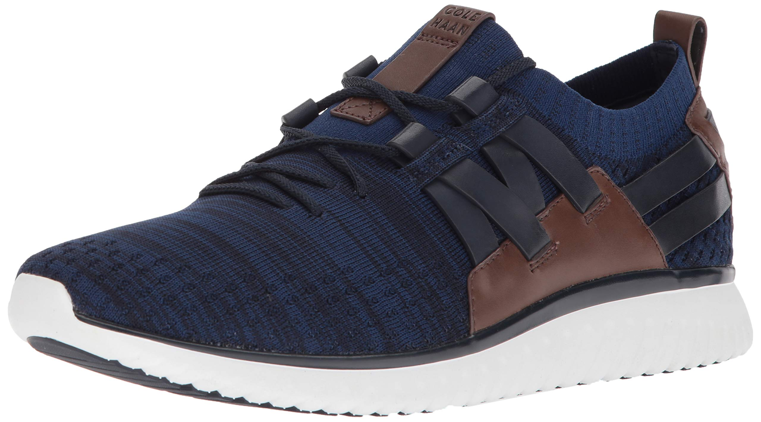 Cole Haan Men's Grand Motion Woven Stitchlite Sneaker, Navy Ink/Peony Knit/British Tan/Optic White 7.5 W US