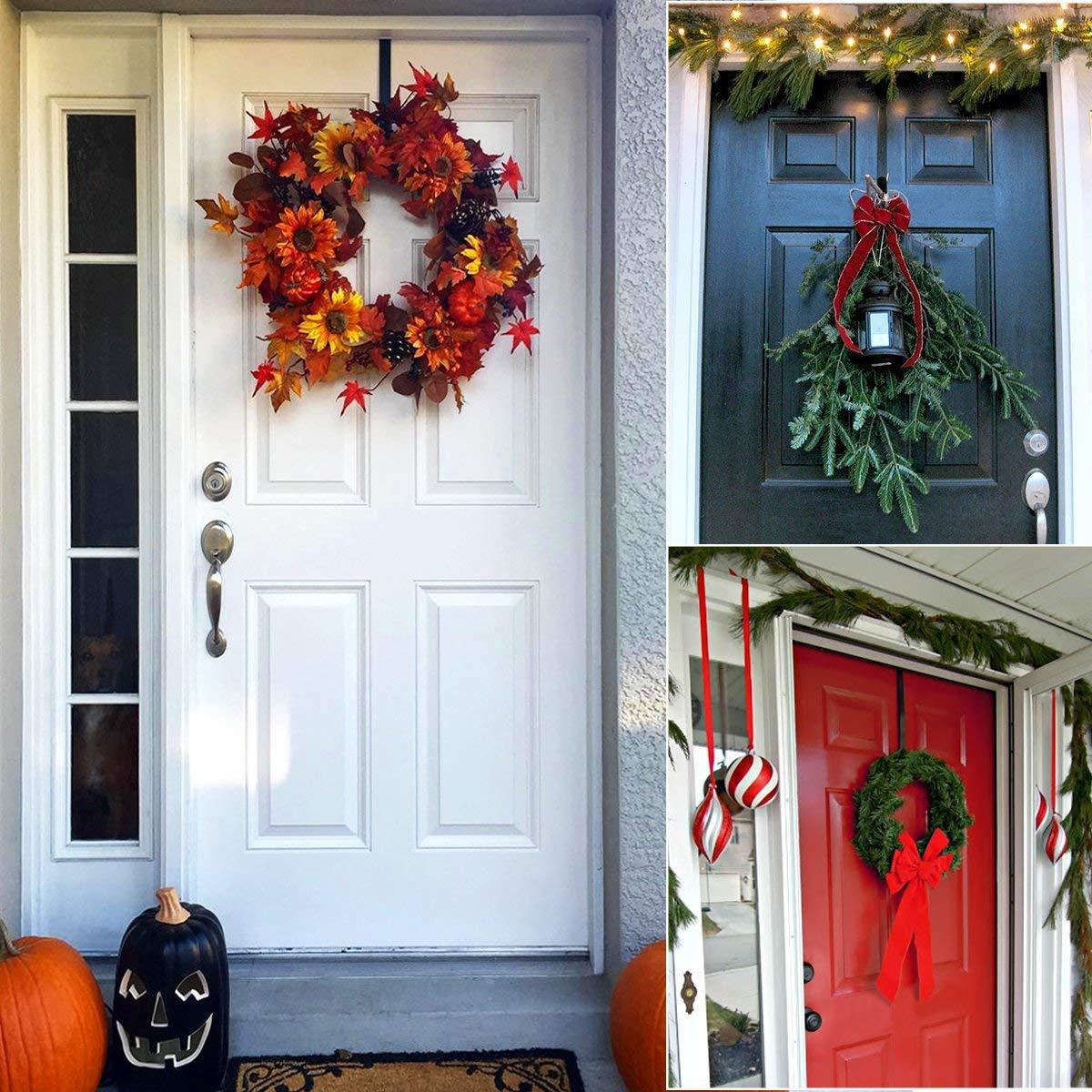 HOMEMAXS Metal Wreath Hanger Over The Door Wreath Holder 4 Packs 13.8inch Larger Wreath Metal Hook for Christmas (Black) by HOMEMAXS (Image #7)