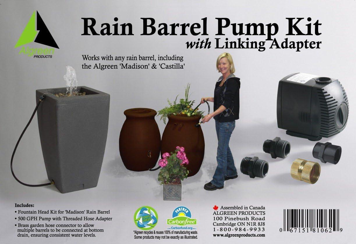 Algreen 500GPH Rain Barrel Pump Kit garden Watering Hose Connection ECO