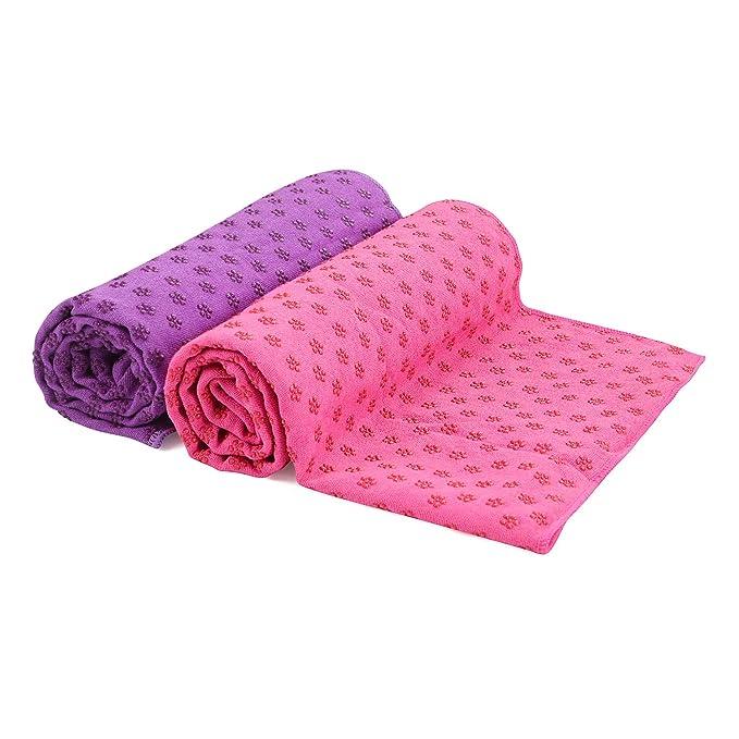 voidbiov Toalla de Yoga Antideslizante para Hot Yoga con Malla Bolsa de Transporte, Secado Rápido Toalla Microfibra Extra Larga [62 x 183 ...