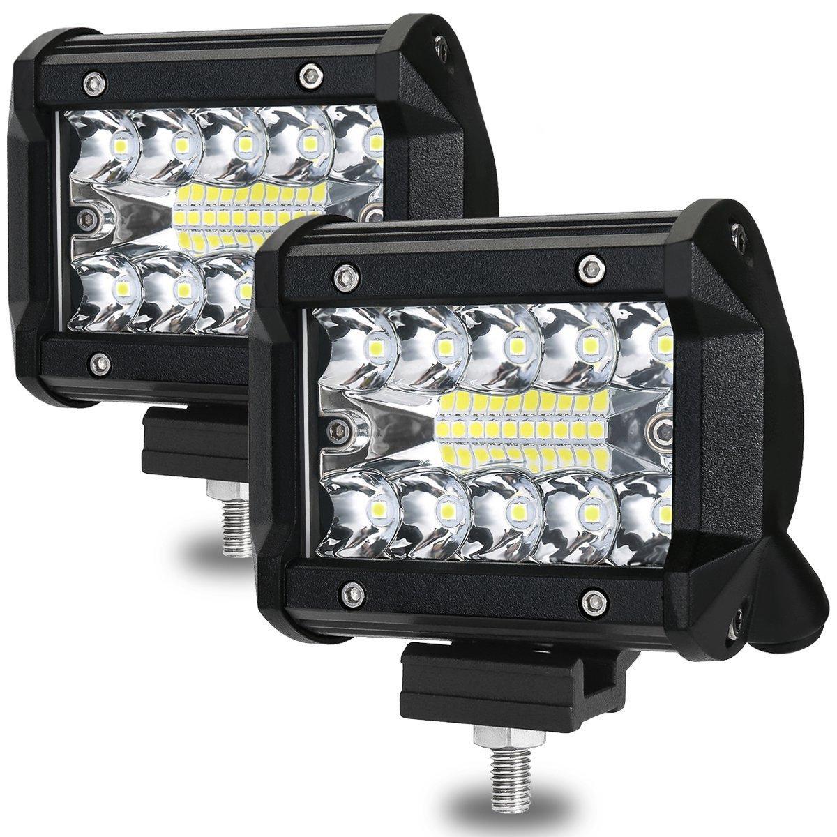 Kyerivs LED light bar, 10,2 cm 60 W luce di azionamento impermeabile, per auto fuoristrada ATV SUV Jeep Cabin barca, 2 pezzi, 1 anno di garanzia
