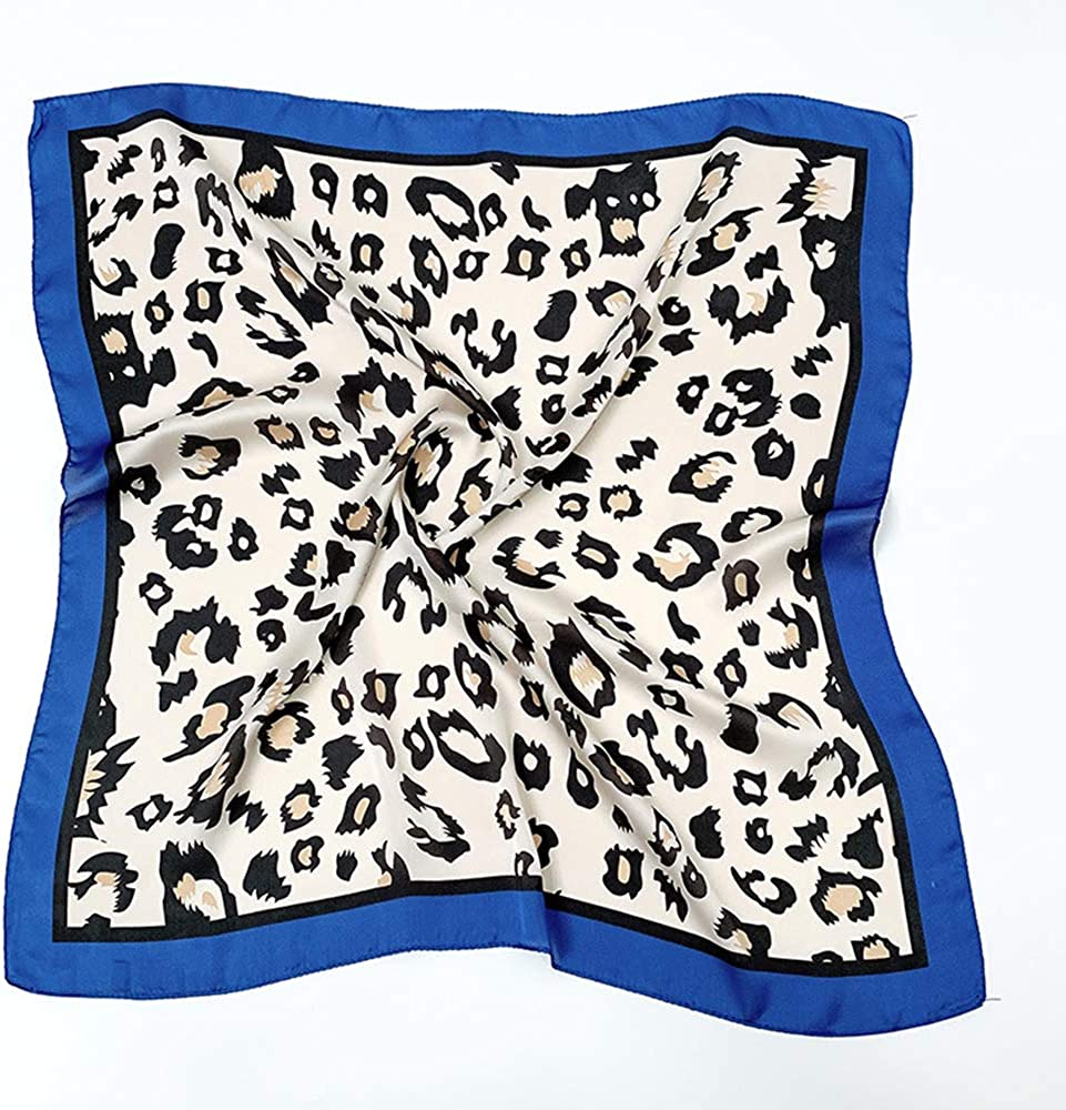 Qinlee Petit Foulard Carr/é Uni L/éopard Bandanas Scarf /Écharpe Carr/é et Foulards en Satin de soie Multi-motifs Bandana T/ête Cheveux Multifonction Bleu 尺寸