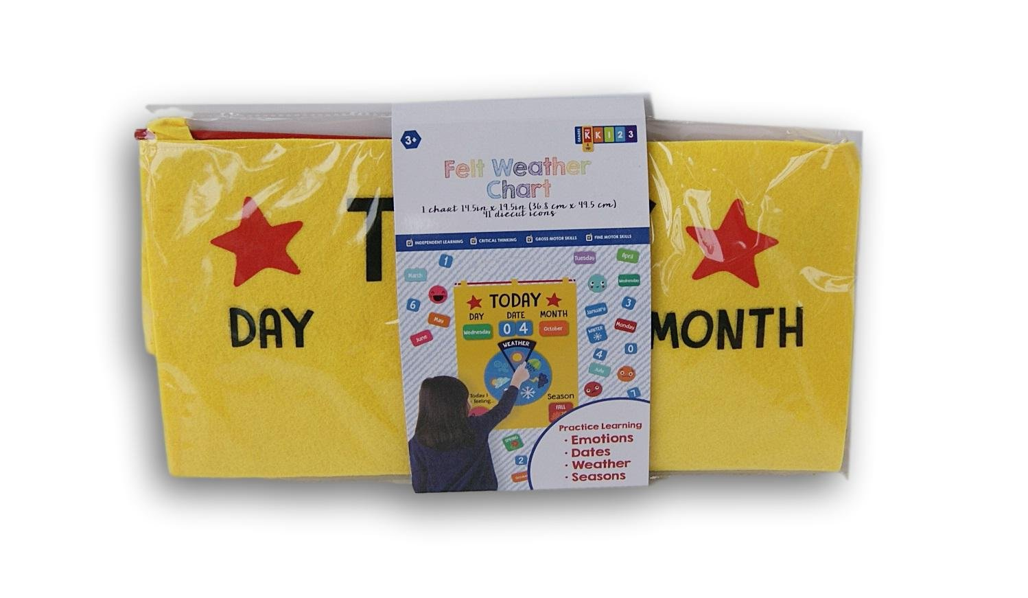 Kids Educational Felt Weather Chart - 14.5 x 19.5 Inches - Includes 41 Diecut Icons