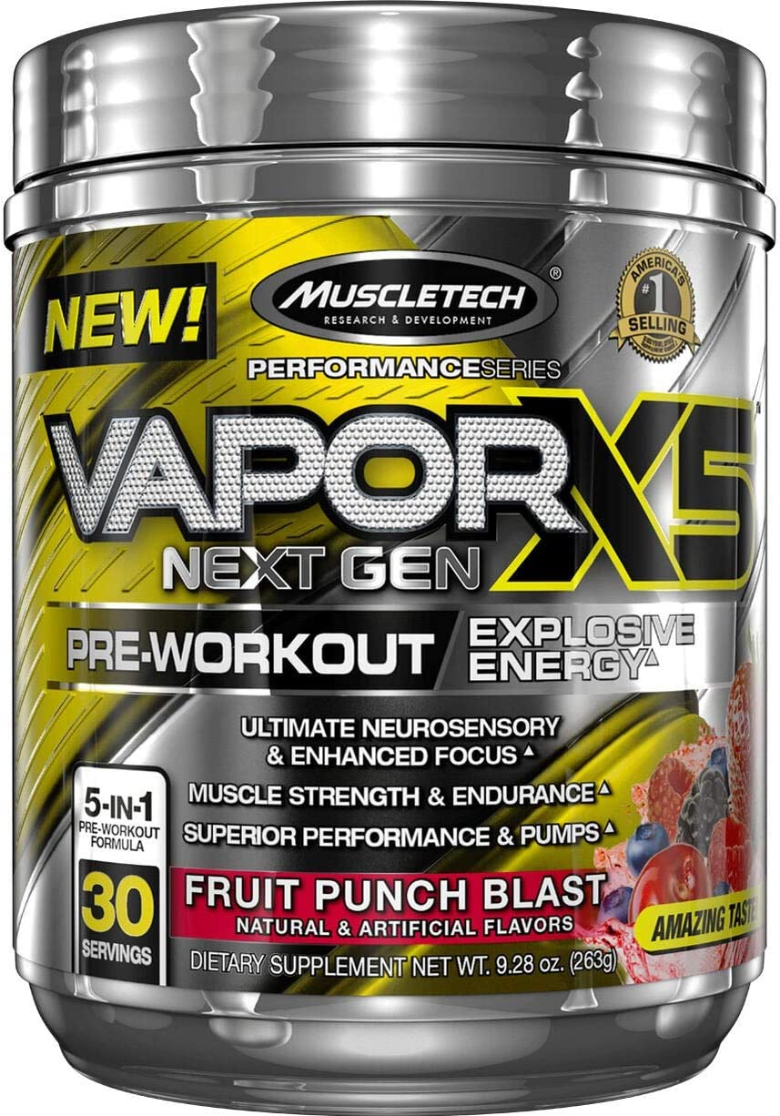 MuscleTech Vapor X5 Next Gen Pre Workout Powder, Explosive Energy Supplement, Fruit Punch Blast, 30 Servings 9.28oz
