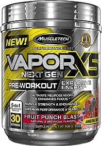 MuscleTech Vapor X5 Next Gen Pre Workout Powder, Explosive Energy Supplement, Fruit Punch Blast, 30 Servings (9.28oz)