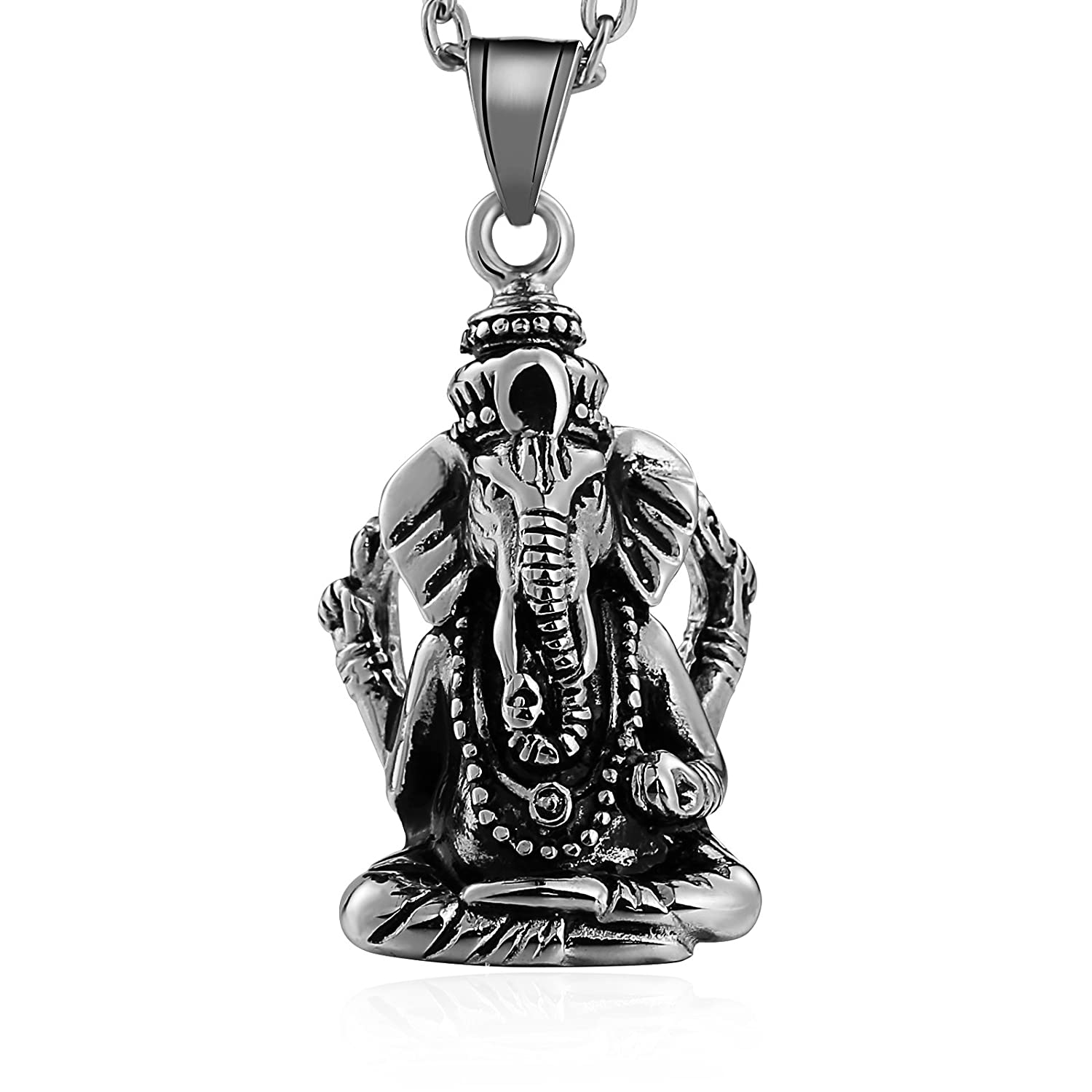 Bishilin Stainless Steel Pendant Necklace for Men Women Ganesha Ganesh God Pendant Gold/Silver BIS6W2NECK069