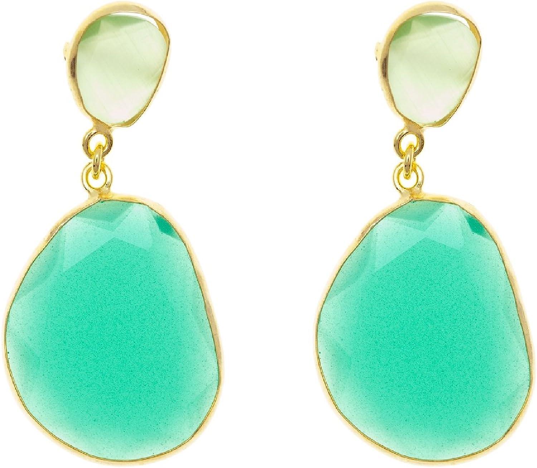 Córdoba Jewels | Pendientes en plata de Ley 925 bañado en oro. Diseño Essencia Agua Marina