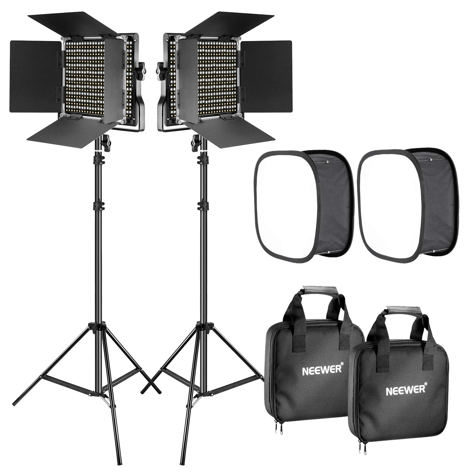 Neewer 2 Pieces Bi-color 660 LED Video Light with Stand and Softbox Kit: (2)3200-5600K CRI96+ Dimmable Light with U Bracket and Barndoor (2)Light Stand (2)Softbox for Studio Photography Video Shooting by Neewer