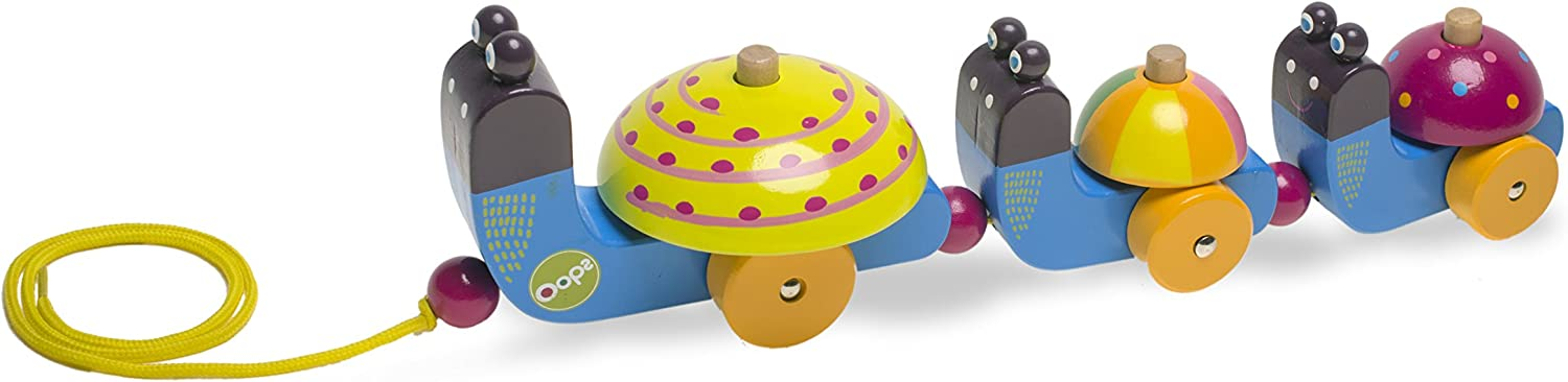 Multi-Color Oops 17009.13 Collection Happy Parade Snail Wooden Pulling Toy