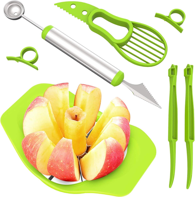 Apple Slicer Corer Cutter, Premium Fruit Slicer Peeler Set of 7, Durable Stainless Steel Apple Corer Slicer, 2 In 1 Melon Baller Fruit Carving Knife, Avocado Knife and Orange Peeler, SONGTIY (Green)