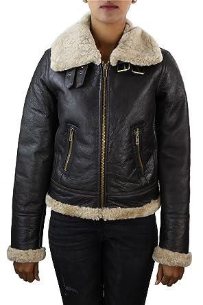 Veste Cuir Femme Peau de Mouton retournée Marron Ivoire Style aviateur 019e2227175