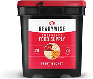 Wise Company ReadyWise, Emergency Food Supply, Emergency Freeze Dried Fruit Bucket, 120 Servings