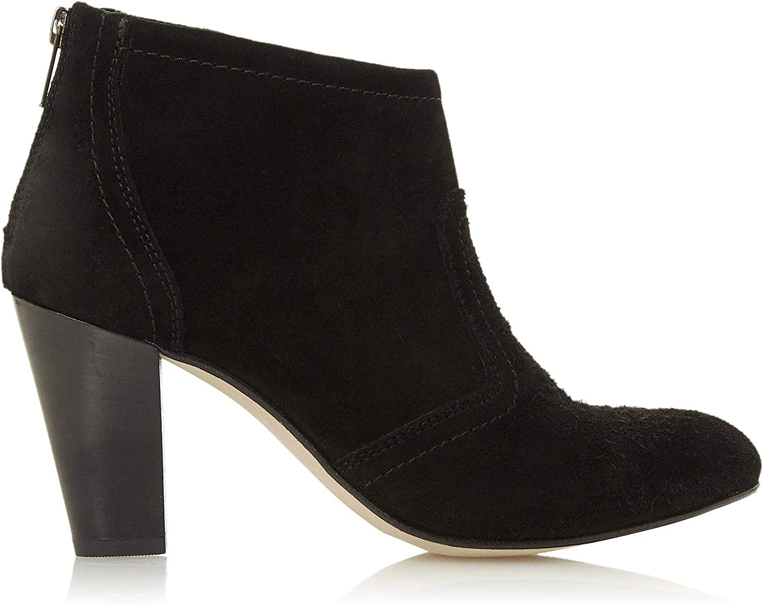 Stacked Heel Suede Ankle Boots