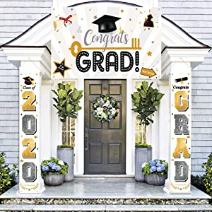 Chokeberry Graduation Decorations Banners - Class of 2020 & Congrats Graduation Hanging Banners Signs Outdoor Home Door Porch Décor, 600D Fabric Porch Sign,Includes 2 Hanging Banners & a Large Banner