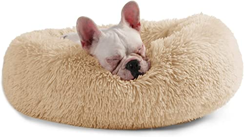 Veehoo Warming Round Dog Bed for Small, Medium and Large Dogs Cats, Short Long Plush Pet Bed, Luxurious Faux Fur Donut Cuddler, Bolster Pet Bed Sofa, Machine Washable