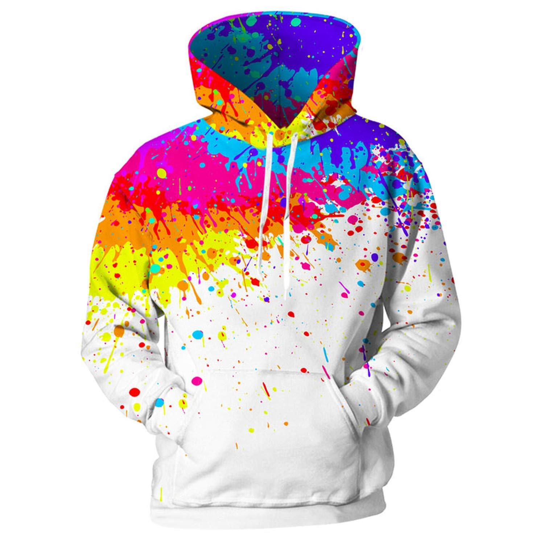EspTmall Hooded Hoodies for Men//Women Splash Paint Print Sweatshirts Men Colorful Hoodies 3D Pullover Unisex Coat Streetwear