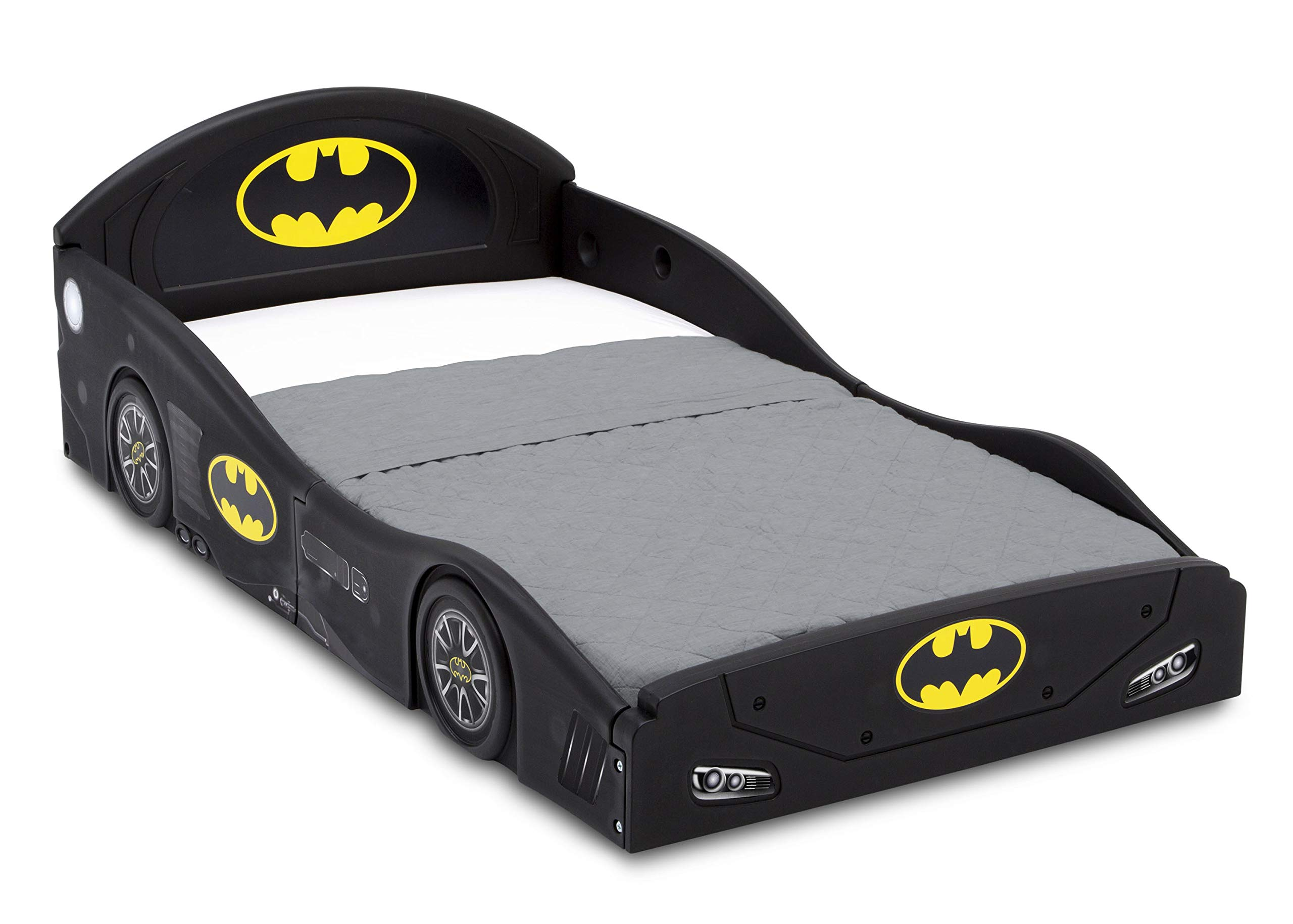 DC Comics Batman Batmobile Car Sleep and Play Toddler Bed with Attached Guardrails by Delta Children by Delta Children