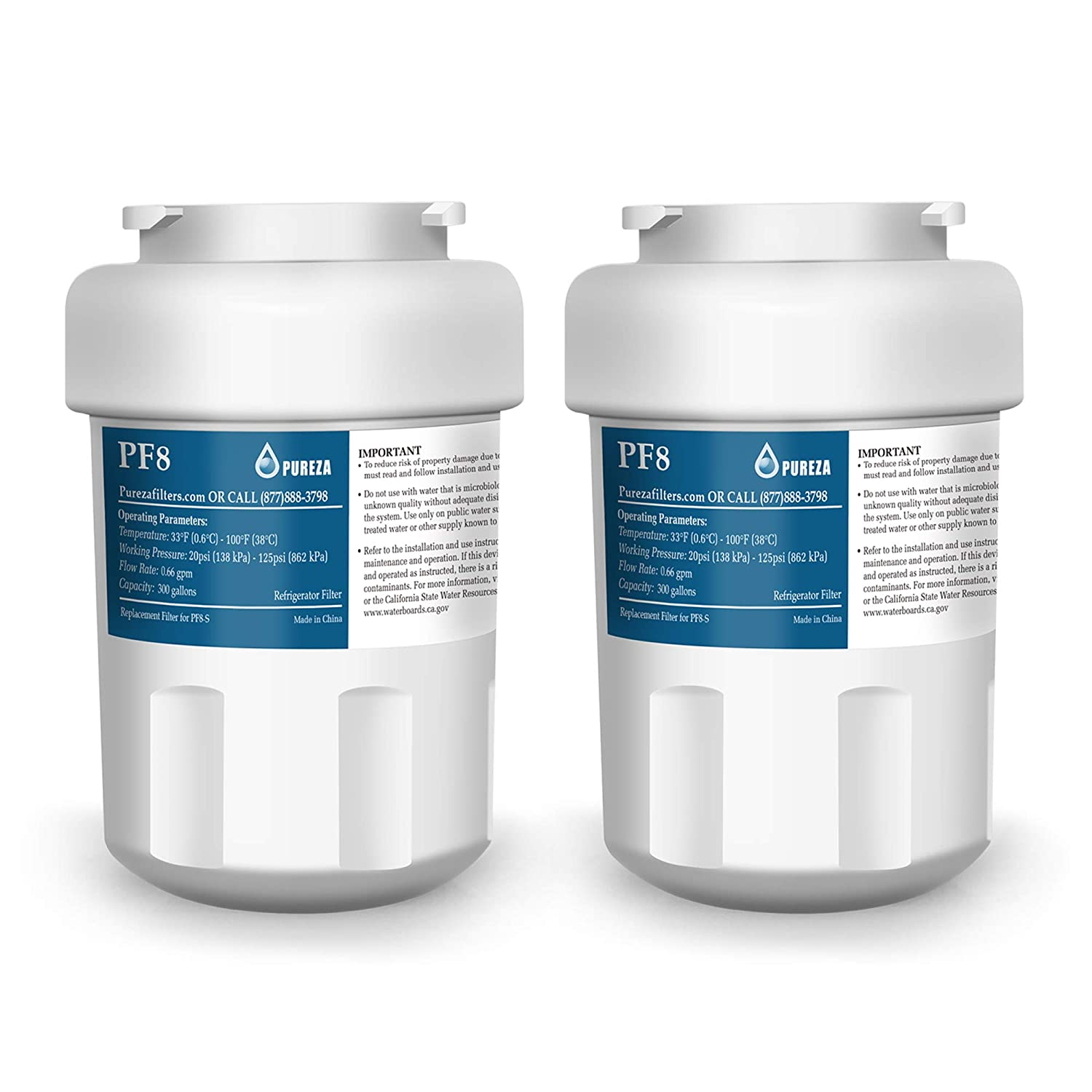 GE MWF Refrigerator Water Filter compatible GAFF GWF01-B GWF06 and Kenmore 9991 46-9991 469991 by pureza (2PACK)