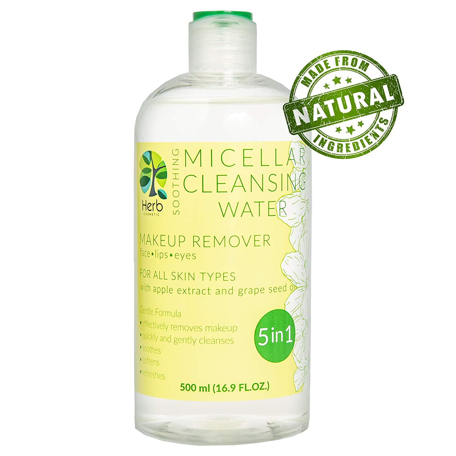 Amazon.com : Micellar Cleansing Water Natural Makeup Remover 16.9 oz : Beauty