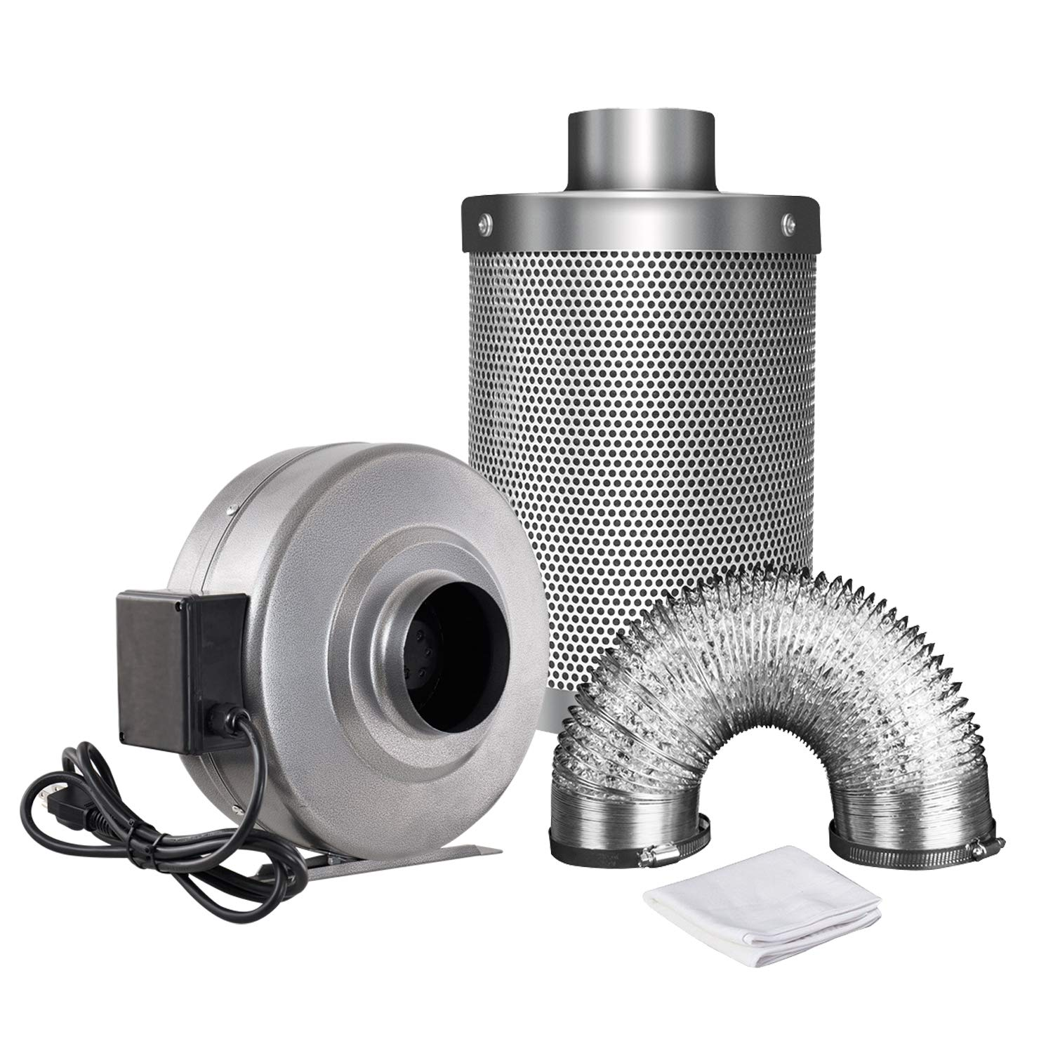 iPower GLFANXINL4FILT4MD25C Air Filtration 203 CFM Inline Fan and 4 Inch Carbon Filter with 25 Feet of Ducting Combo Ventilation Kits, Grey by iPower