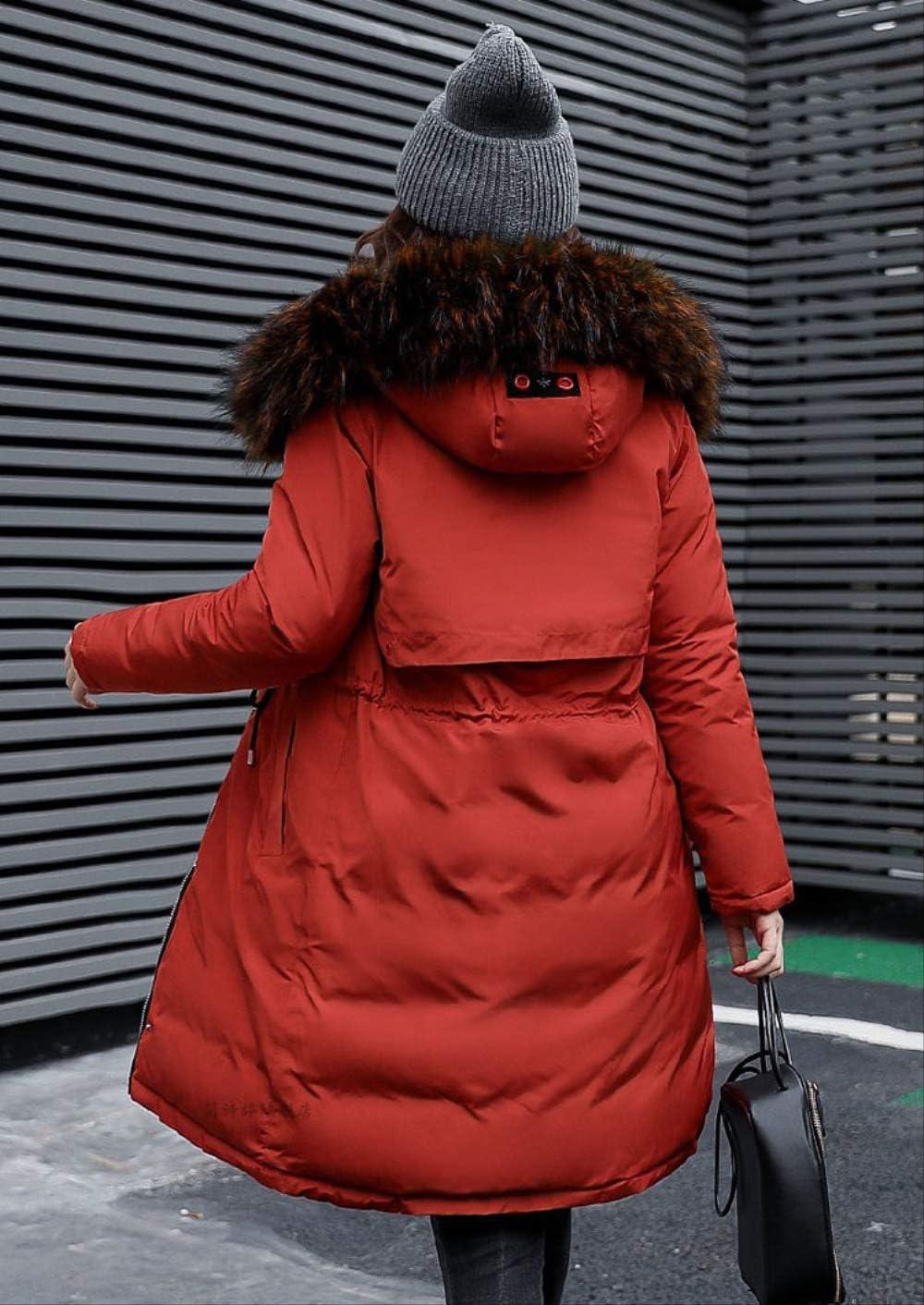QXNZY Giacca Invernale con Cappuccio Spessa Donna Oversize 3XL Stampa Double Face Parker Collo Invernale Cappotto Donna Red