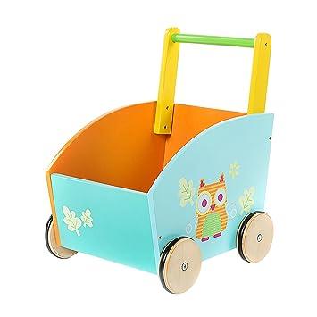 Blau Vinz Lauflernwagen f/ür Babys Junge und M/ädchen Holz Lauflernhilfe 60x36x45 cm Ab 1 Jahr
