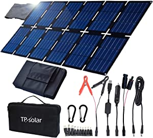 TP-solar 100W Foldable Solar Panel Charger Kit for Portable Generator Power Station Smartphones Laptop Car Boat RV Trailer 12v Battery Charging (Dual 5V USB & 19V DC Output)