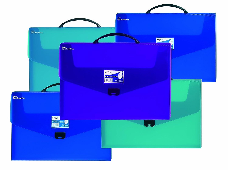 Snopake BoxOffice - Caja de archivo (A3, asa de transporte, variados 5 unidades), colores variados transporte, 8bd110