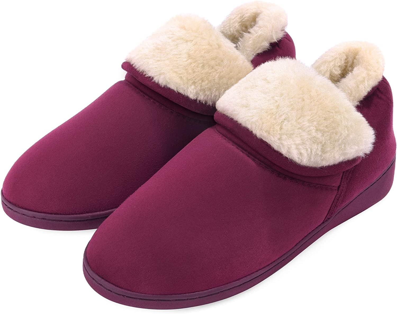 Women's Ankle Bootie Slippers Memory Foam House Shoes Fuzzy Plush Cozy Comfy Warm Indoor Outdoor Boots