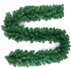 9 Feet Christmas Garland Artificial Pine for Outdoor & Indoor Wedding Party Doorway Wall Stairs Decorations and DIY Wreath