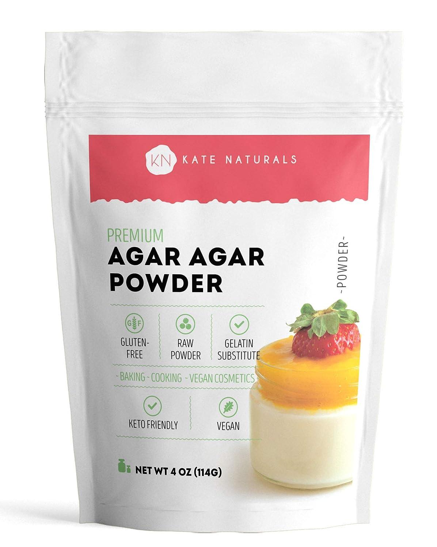 Agar Agar Powder for Vegans and Baking by Kate Naturals. Versatile Thickener & Healthy Gelatin Substitute. Keto-Friendly, Non-GMO, Gluten-Free No-Odor Powder. 4 ounces.