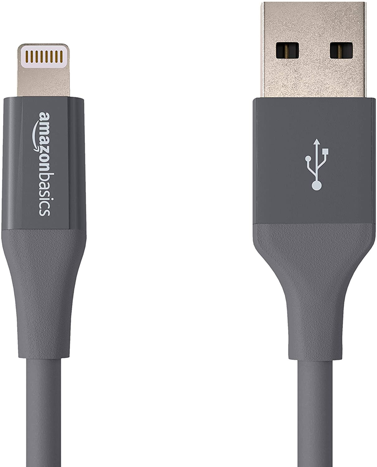 AmazonBasics Lightning to USB A Cable, Advanced Collection, MFi Certified iPhone Charger, Grey, 4 Inch, 2 Pack