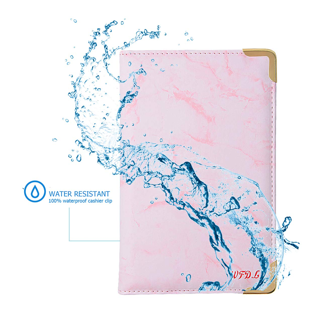 WFD.L Waitress Book Deluxe Server Wallet for Restaurant Waiter Waitress Waitstaff | 9 Pockets Includes Zipper Pocket with Pen Holder | Fits in Apron+Includ 50 Sheet Guest Check Pads (Marble Pink) by WFD.L (Image #5)