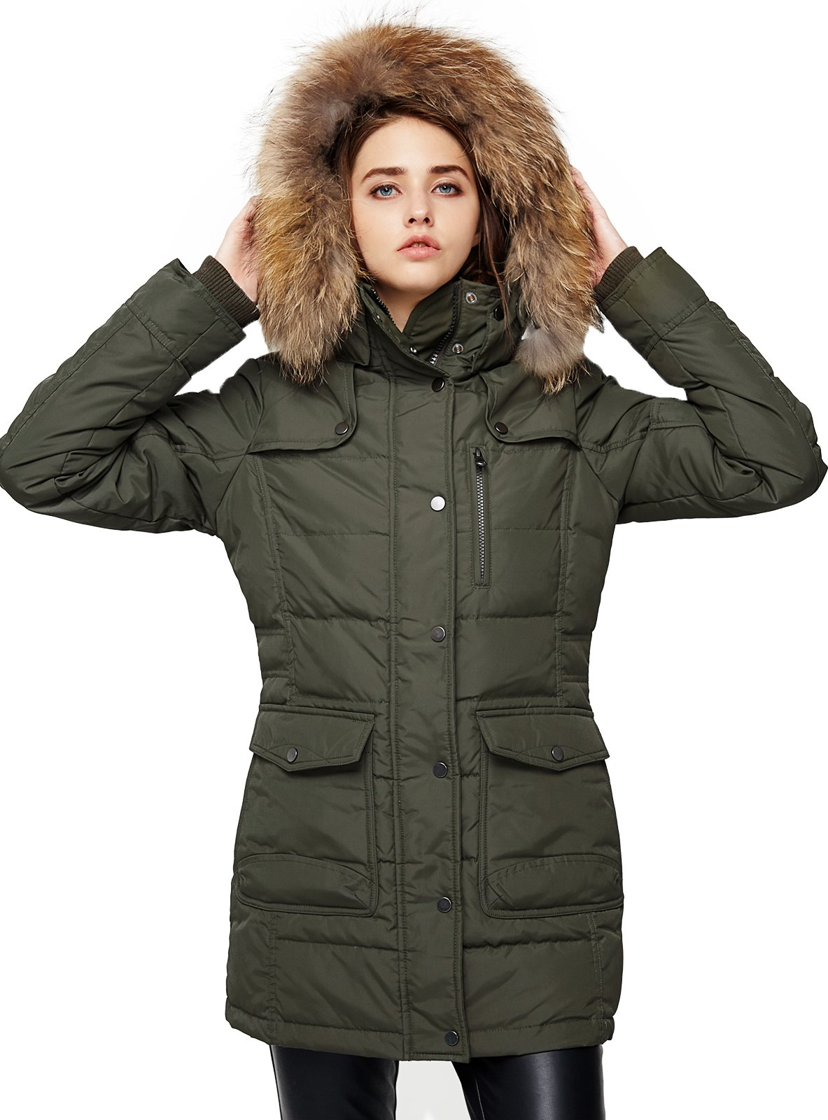 Escalier Women`s Down Coat With Raccoon Fur Hooded Winter Jacket Army Green XL