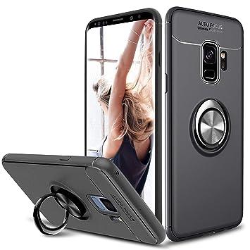 SORAKA Funda para Samsung Galaxy S9,rotación de 360 Grados, Carcasa de TPU Delgada, imán a Prueba de Golpes,Funda para Soporte de Coche para Samsung ...