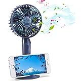 携帯扇風機 MECO 手持ちファン USB扇風機 ミニ扇風機 卓上扇風機 ファン 充電式で 5枚羽根 風量3段階調節 手持ち/卓上置き両用 便利 強力 携帯スタンドとして可能 ネイビ