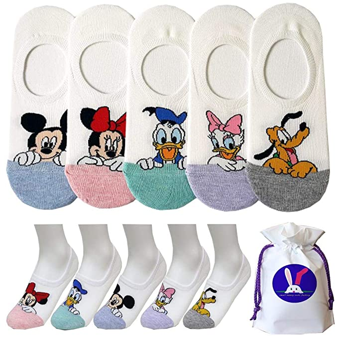93260a3207553 Women's Disney Character No Show Socks with Pouch Pack of 5 pairs ...