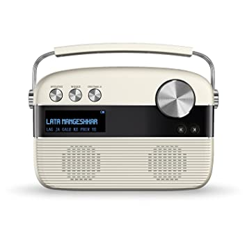 Saregama Carvaan SC02 Portable Digital Music Player with Remote Control  Porcelain White  Bluetooth Speakers