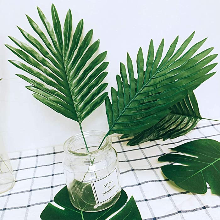 AerWo 36pcs 3 Kinds Artificial Tropical Palm Leaves Safari Leaves Large Green Faux Monstera Leaves for Hawaiian Luau Party Supplies, Aloha Jungle Beach Birthday Leave Table Decorations