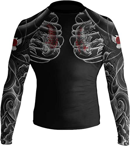 Raven Fightwear Irezumi 2.0 Rash Guard Mens Camicia a Compressione Manica Lunga Uomo Arti Marziali BJJ Fitness Grappling No-Gi
